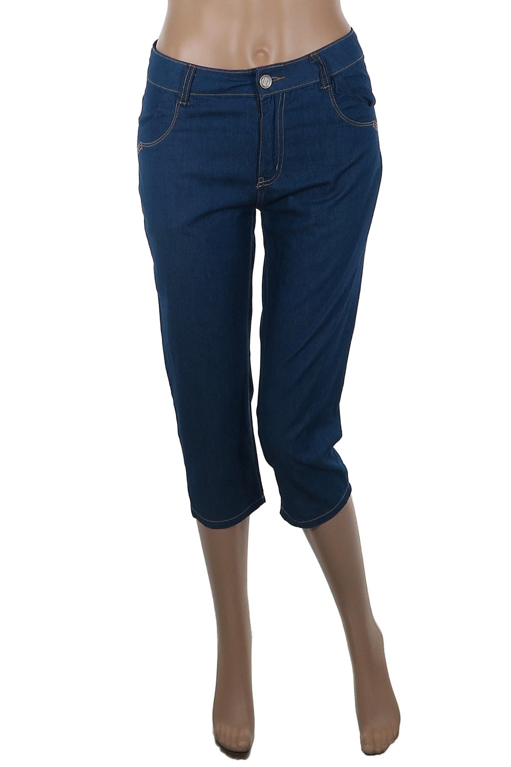 Cotton Denim Look Capri