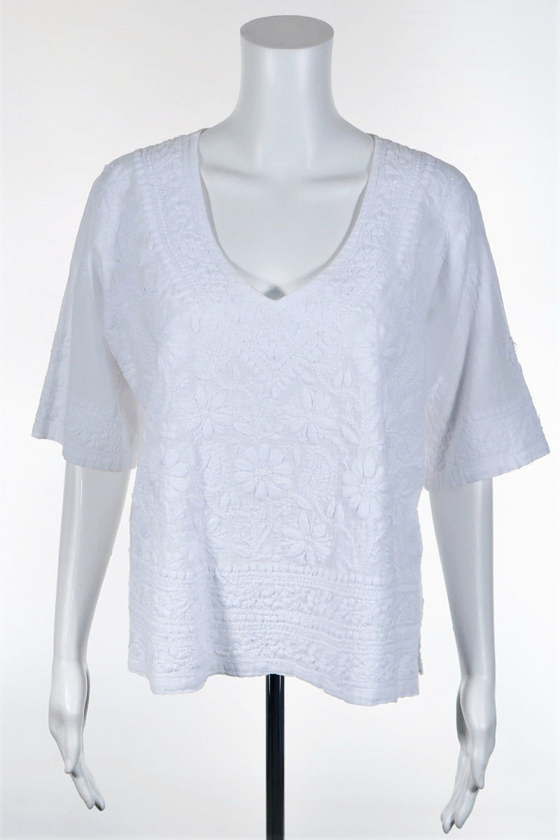 Woven Embroidered Blouse - Short Sleeve