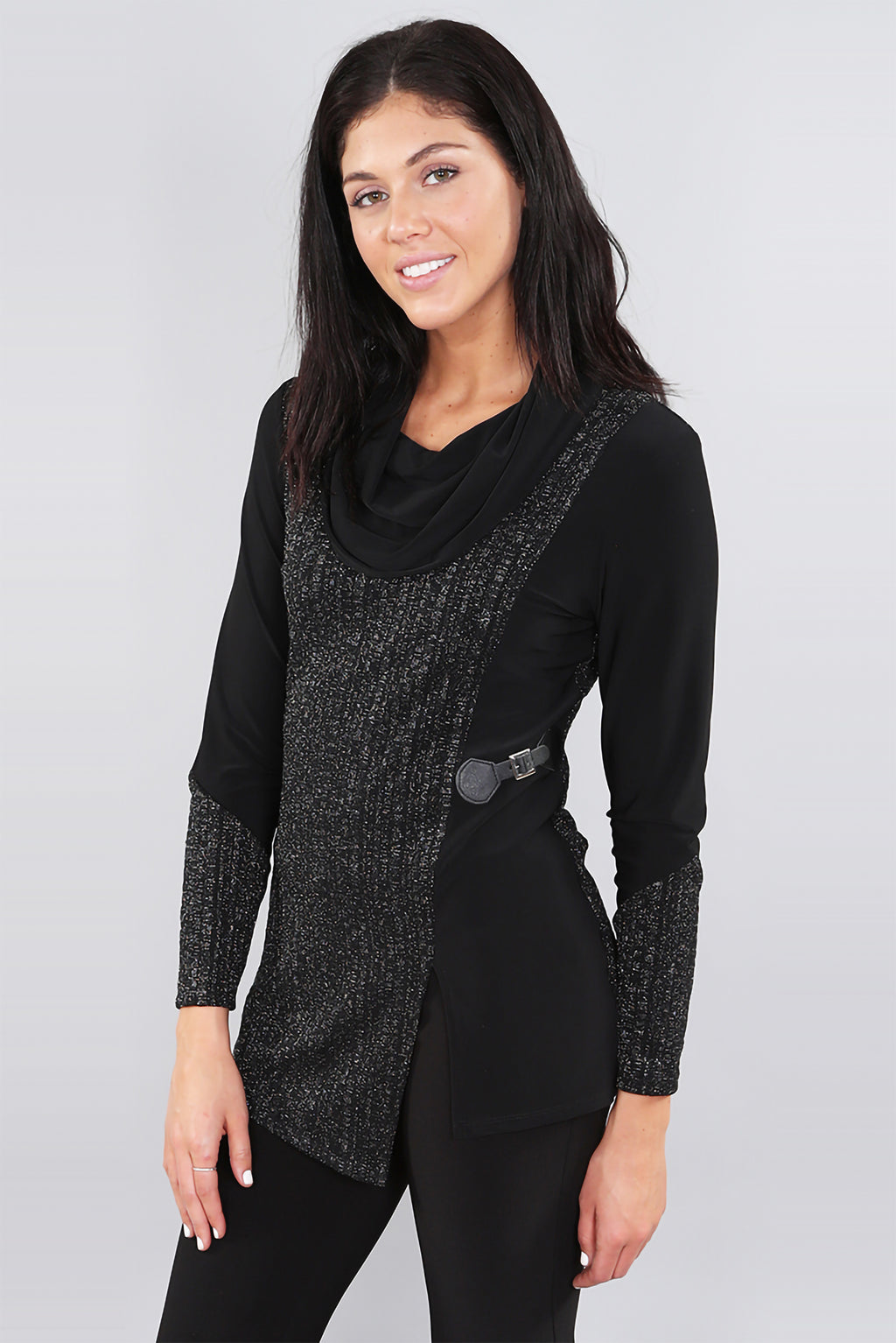 Silver Thread Cowl Neck Tunic