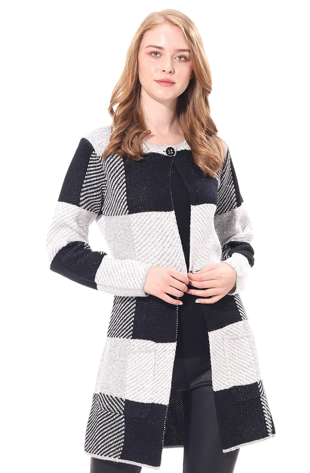 Checkered Cardigan w/ Pockets