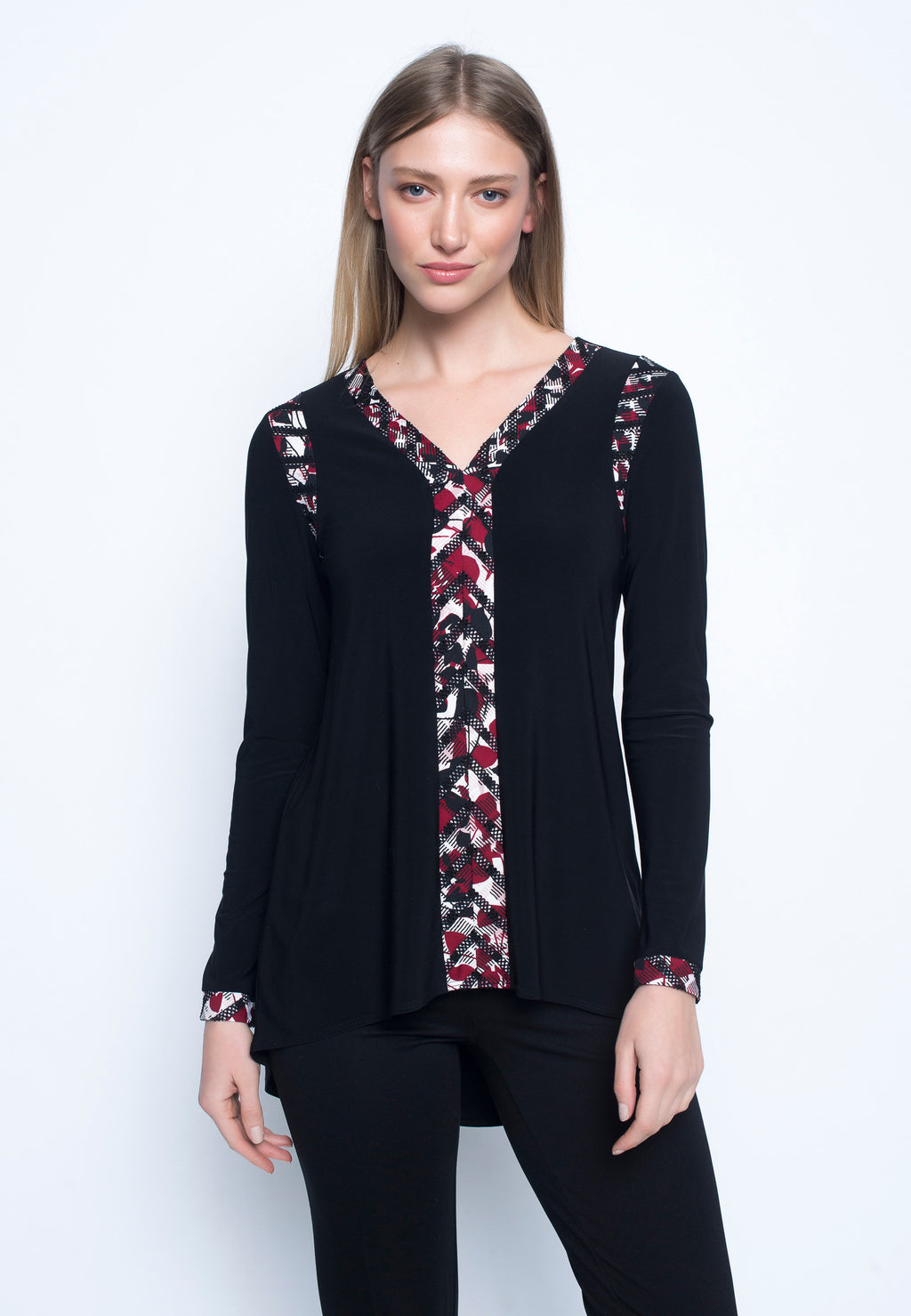Print-trimmed V-neck Tunic