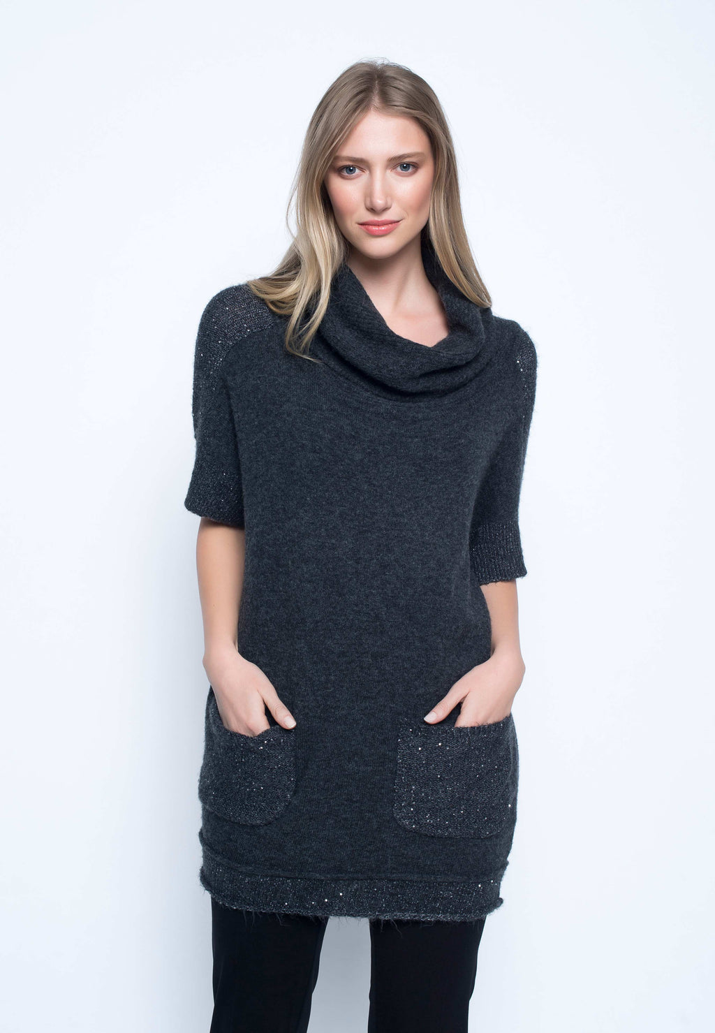 Sequin-Trimmed Sweater Tunic
