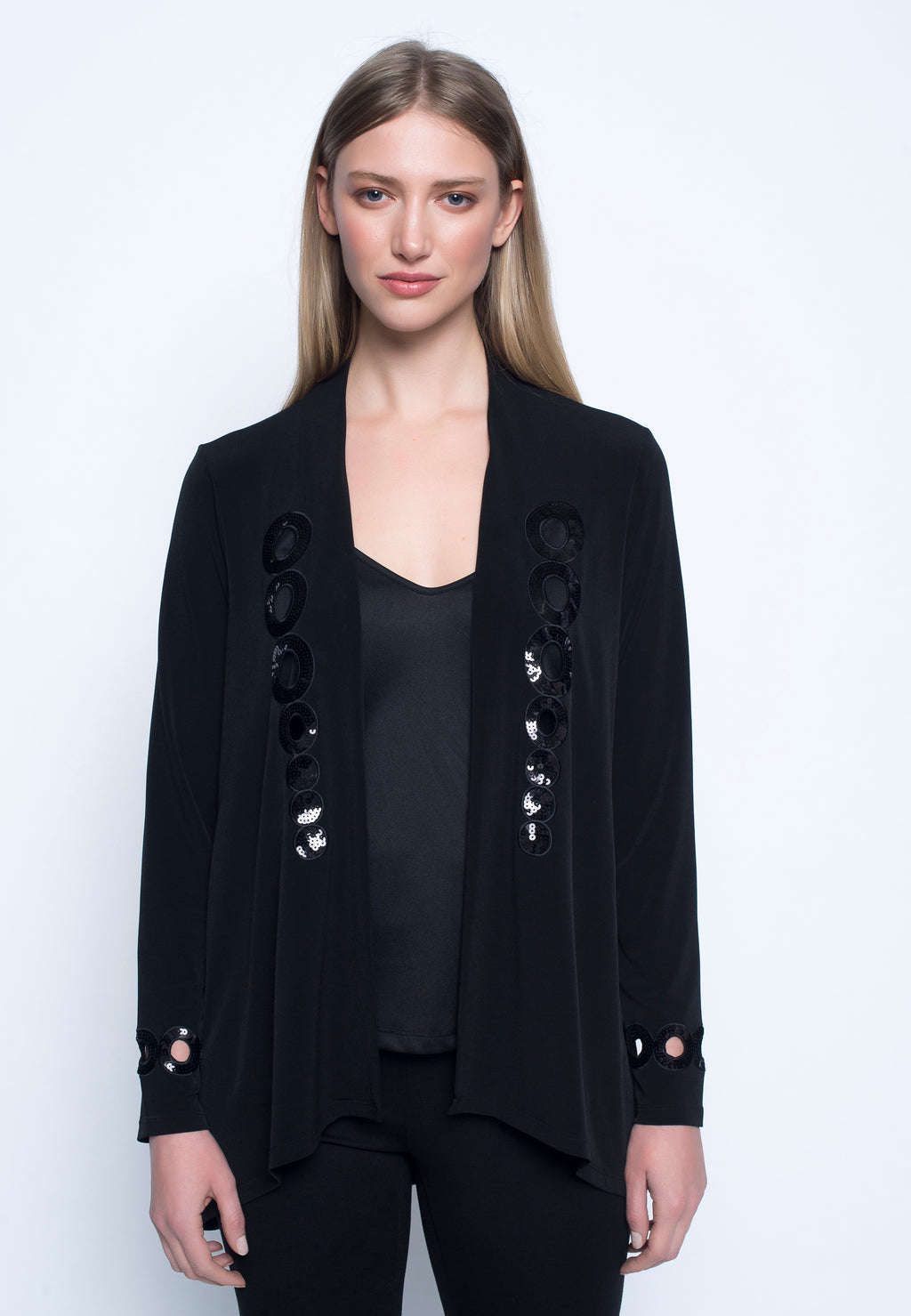 Sequin-Trimmed Open Front Jacket
