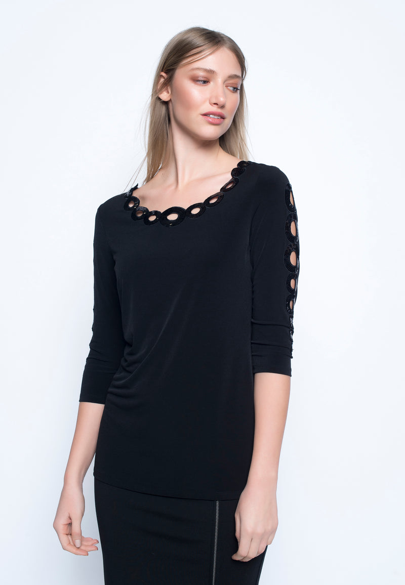 3/4 Sleeve Top w/ Sequin Trim