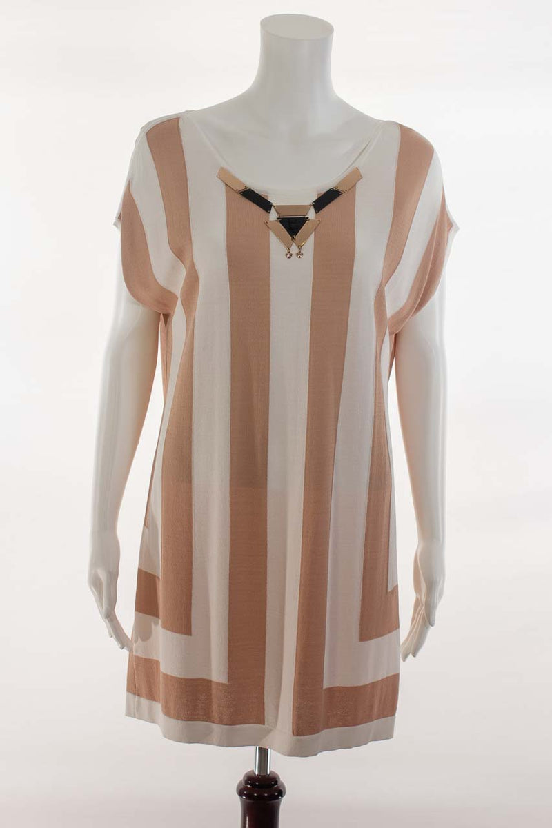 Striped Tunic Dress with Gold Embellishment