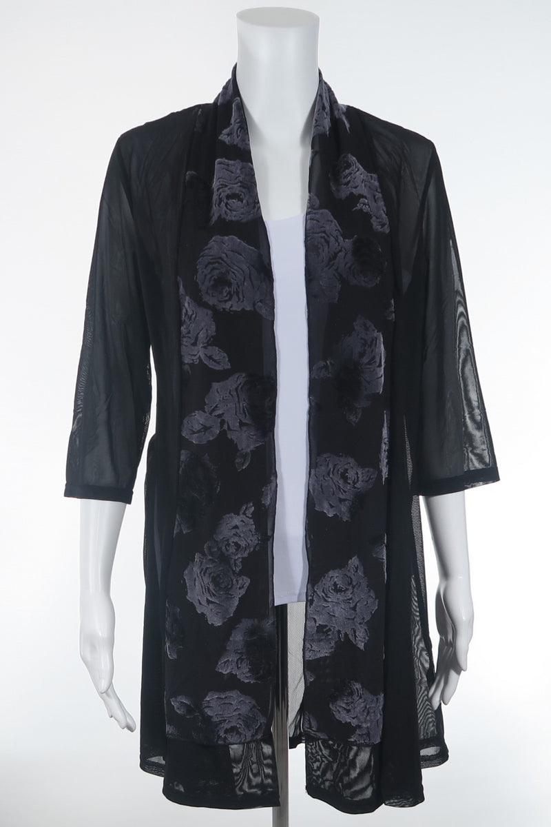 Rose Trimmed Sheer Duster