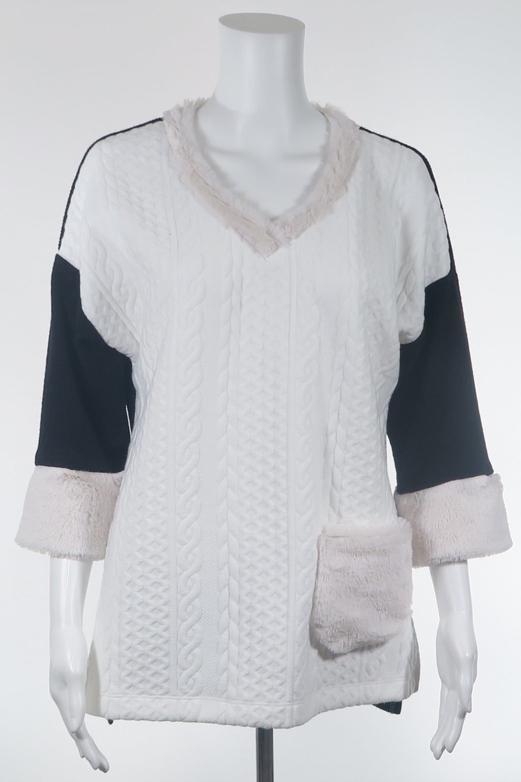 Plush 3/4 Slv Sweater w/Faux Fur Trim