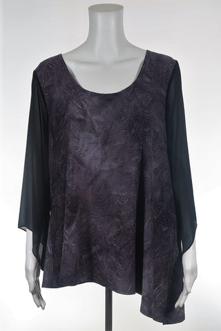Mock Neck Side Split Top
