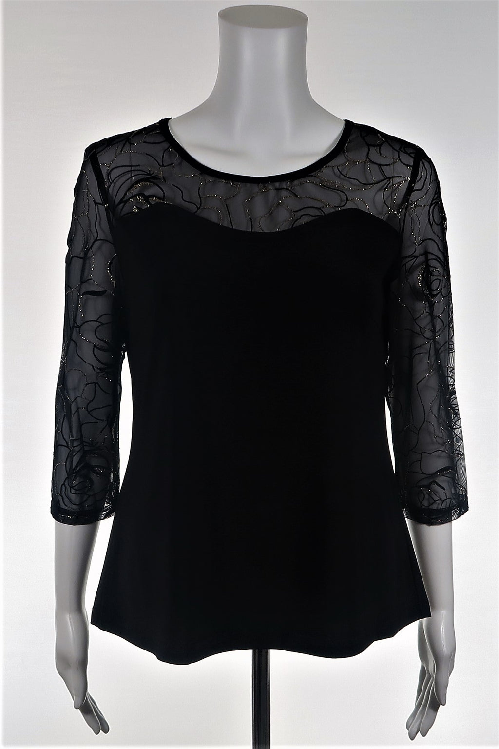 Sheer Yoke Top w Glitter Scroll Accent