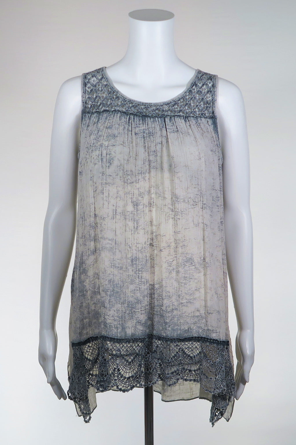 Stone Wash Lace Trimmed Tunic