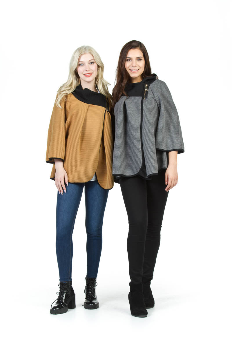 Sleeved Cape w Ribbed Zip Neckdrape