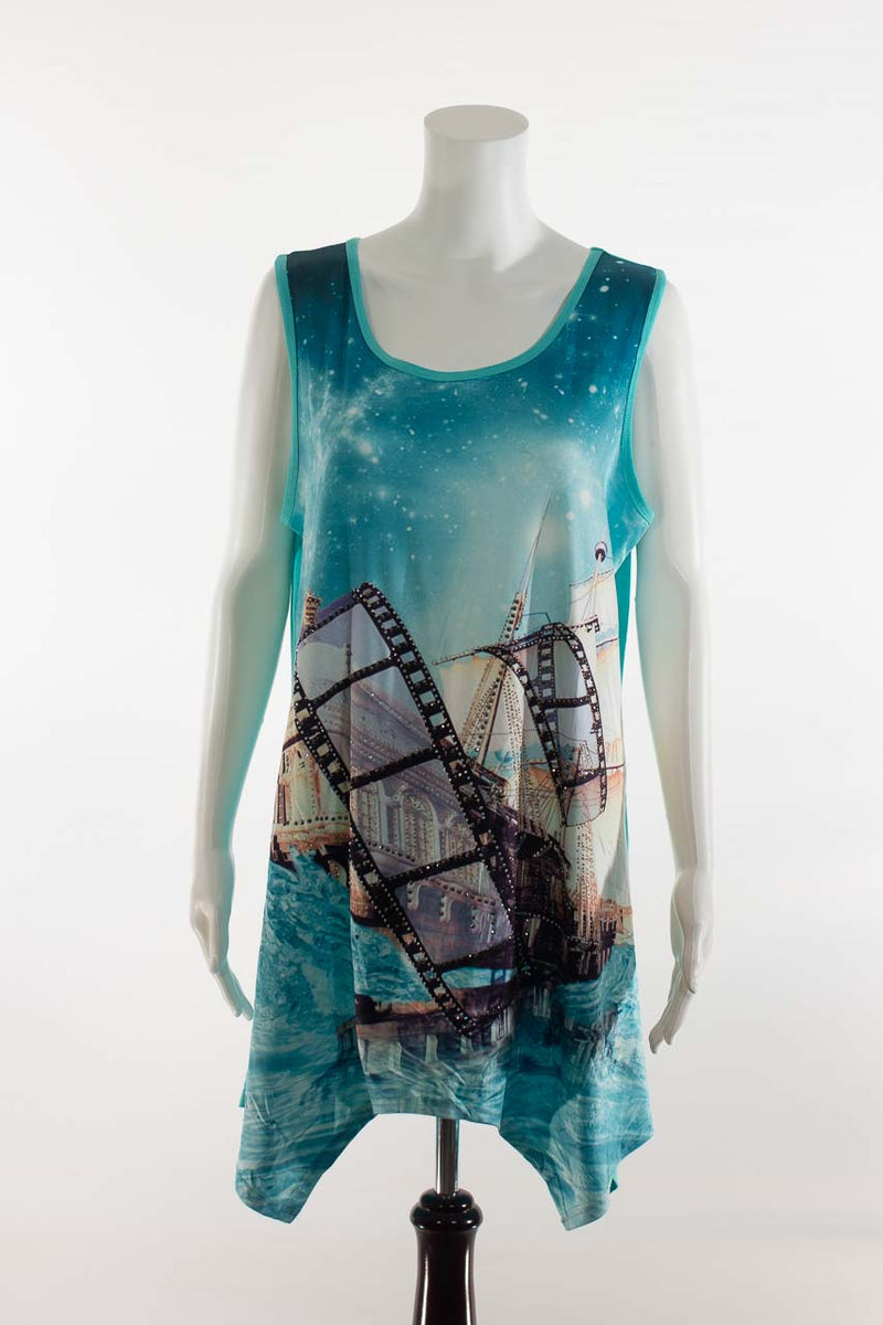 Sleeveless Film Roll Tunic