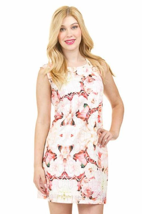 Rose Print Lace Shift Dress