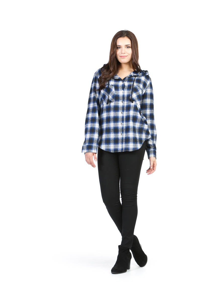 Plaid Button-up Hoodie