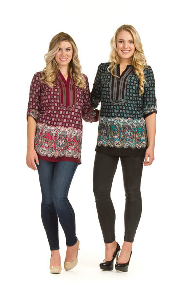 Global Print Tunic w Paisley Border