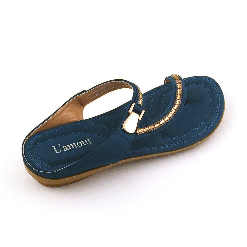 Slip-on Cloth Sandal w Gold Accent