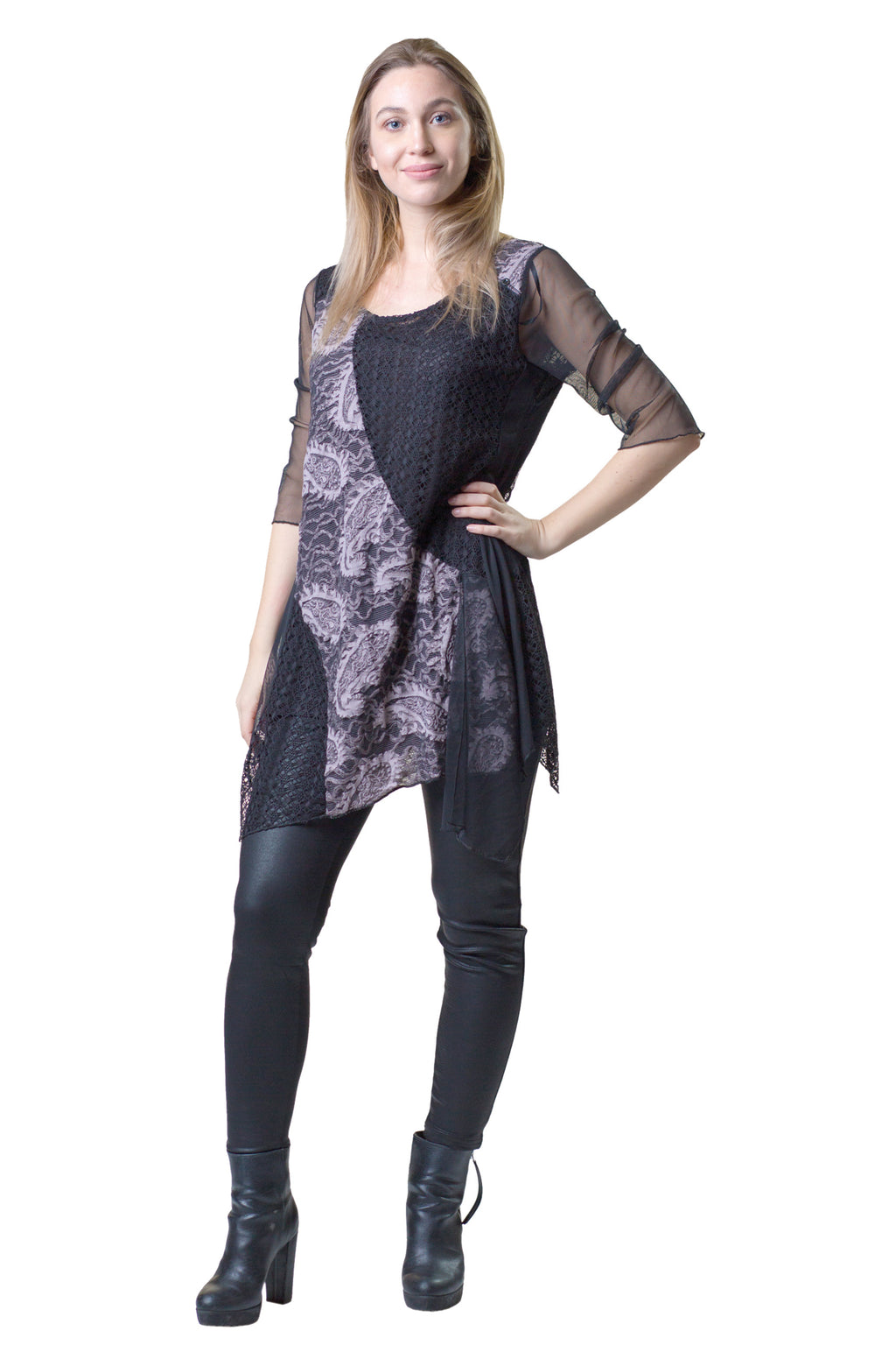 Multi Fabric Lace Tunic