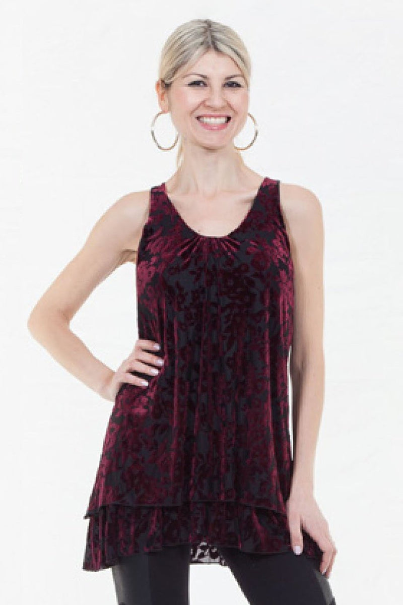 Velvet Double Layer Sleeveless Top