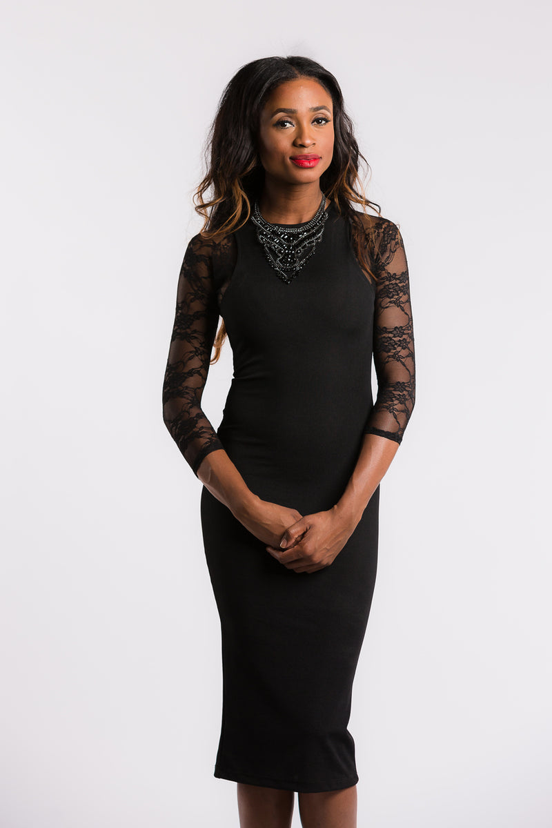 Sleevey Wonders - Lace 3/4 Sleeve Black