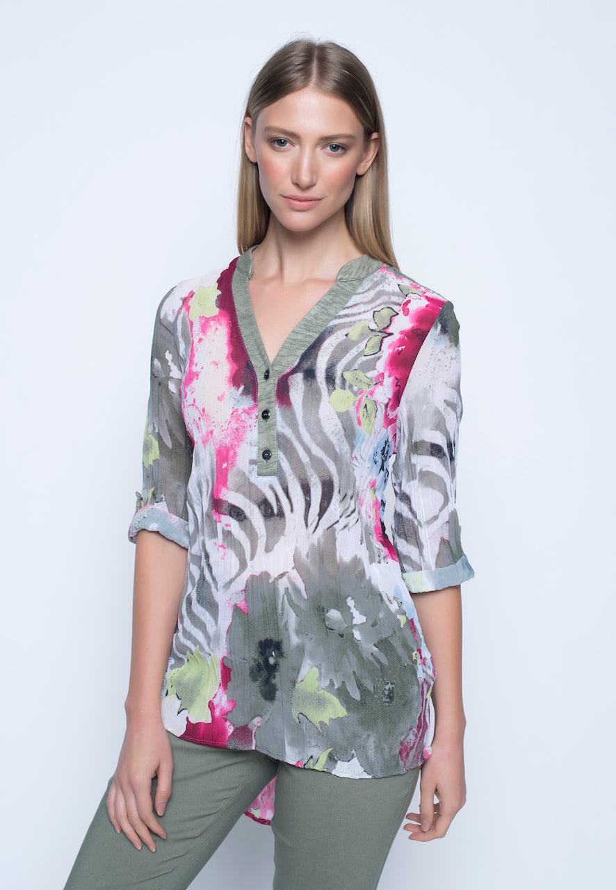 Curved Hem 3/4 Slv Top, Sage Multi