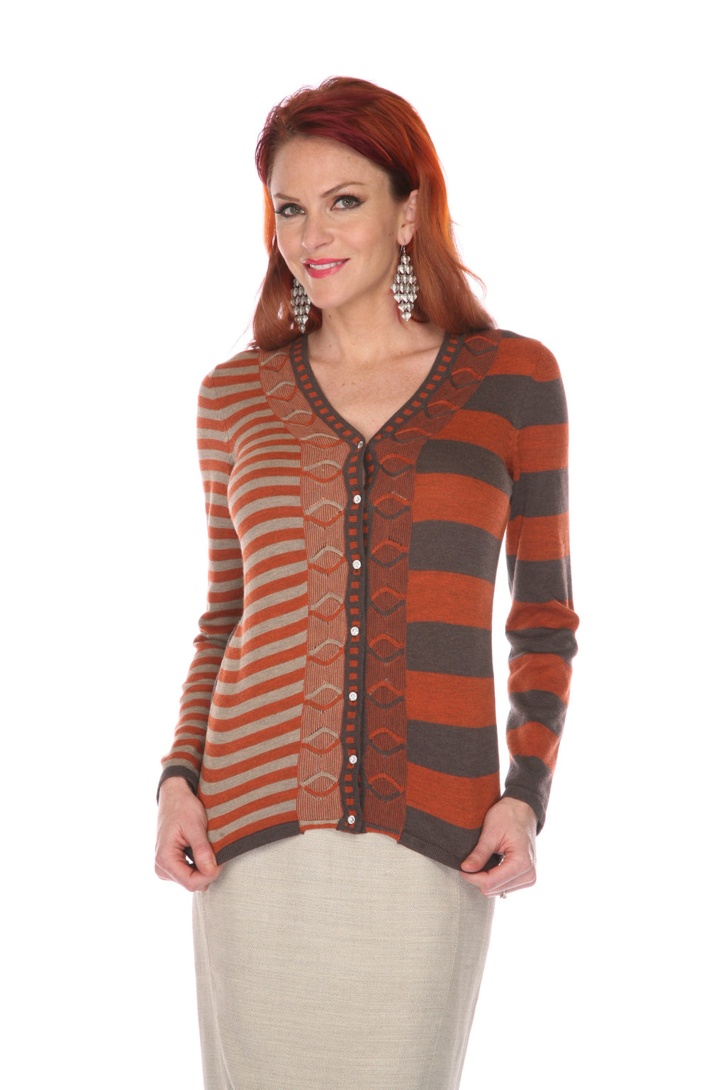 Striped Sweater w/Bling Buttons