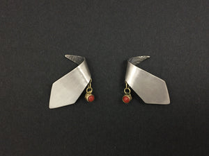 Abstract Modernist 18K Gold Coral Handmade Sterling Silver Earrings