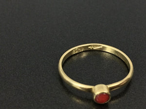 Southwestern Native Style 18K Gold Coral Handmade Ring Size 6.75