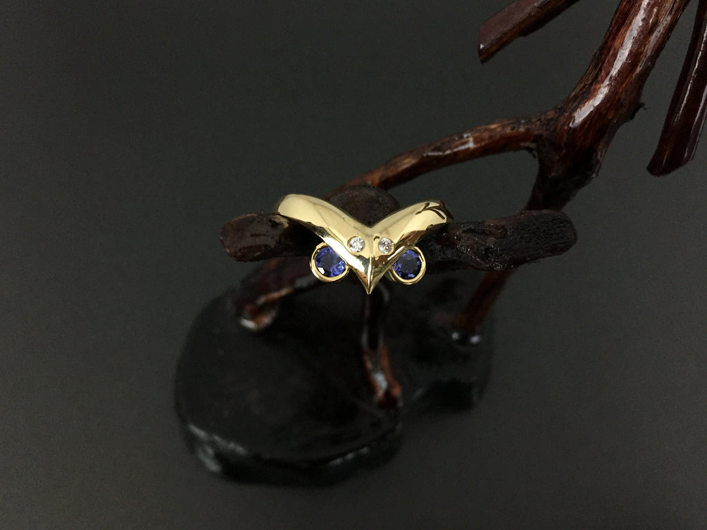 Native Style Owl 18K Gold .69ct Tanzanite .05ct Diamond Ring Size 5.75