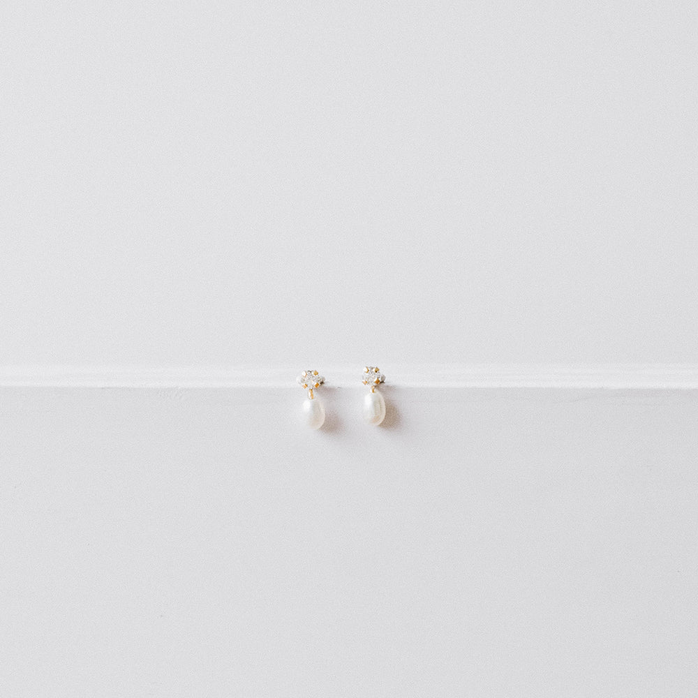 Baby pearl drop and thin crystal studs