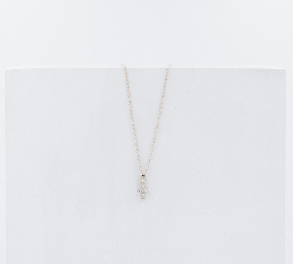 Cross crystal necklace mini
