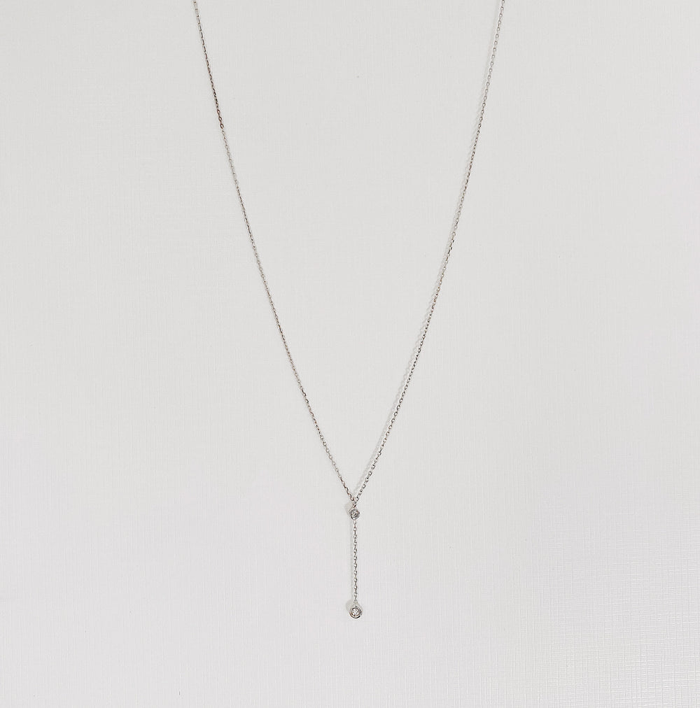 White long crystal necklace