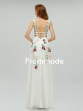 V-Neck Ivory Lace Evening Dresses with Embroidery ,Cheap Prom Dresses,PDY0584