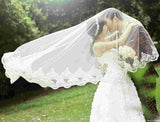 White long Appliqued Tulle Wedding Veil With Lace Appliques For Wedding Party, EPR05