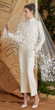 Modest Tulle Short Wedding Veil With Lace Appliques,WV0119