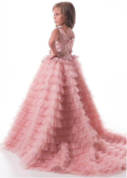 Modest Tulle Lace Scoop Floor-length Flower Girl Dresses With Handmade Flowers & Beadings ,FGY0160