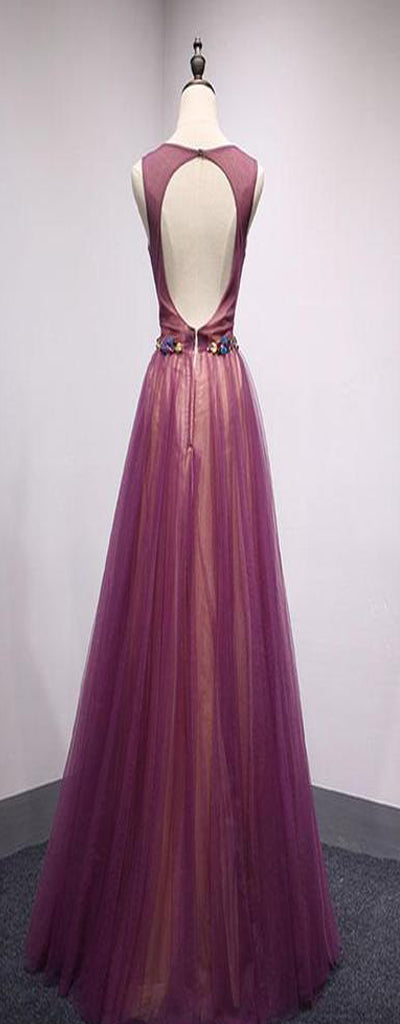 Spring Open Back Long Tulle A-Line Formal Prom Dress  With Belt,Evening Dresses,PDY0189