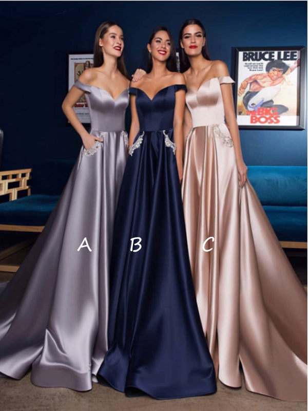 Off-the-Shoulder V-neck Sarin Long Evening Prom Dresses,Cheap Prom Dresses,PDY0502