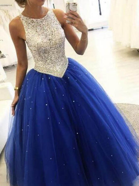 A-line Royal Blue Beaded Ball Gown Prom Party Dresses,Cheap Prom Dresses,PDY0520