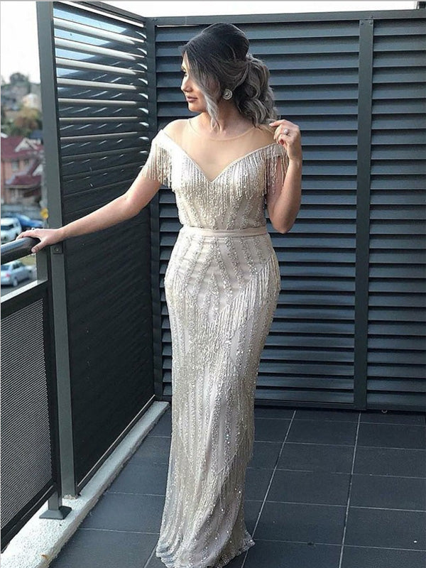 Sheath Illusion Round Neck Silver Tulle Prom Dresses,Cheap Prom Dresses,PDY0490