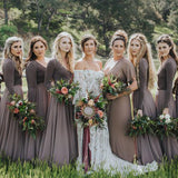 A-line Dark Grey Long Sleeves Bridesmaid Dresses,Cheap Bridesmaid Dresses,WGY0390