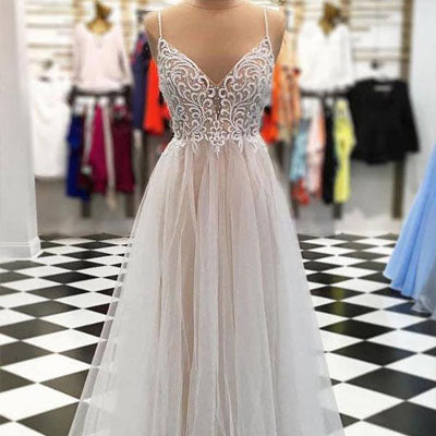 2019 Elegant Spaghetti Strap Floor Length Tulle Lace Prom/Evening Dresses With Beads.PDY0247
