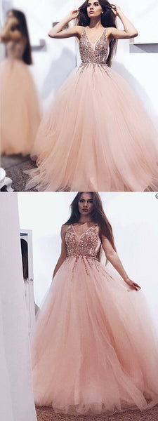 Attractive A-line Princess  Spaghetti Straps V-neck Beaded Prom Dresses,PDY0253