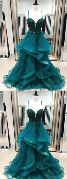 2019 Charming Sparkly Tulle Prom Dress, Spaghetti Straps Popular Fashion Modern Prom Dress, Evening Dress, PDY0104