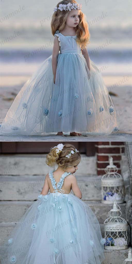 A-line Sky Blue Tulle Long Flower Girl Dresses,Cheap Flower Girl Dresses ,FGY0242