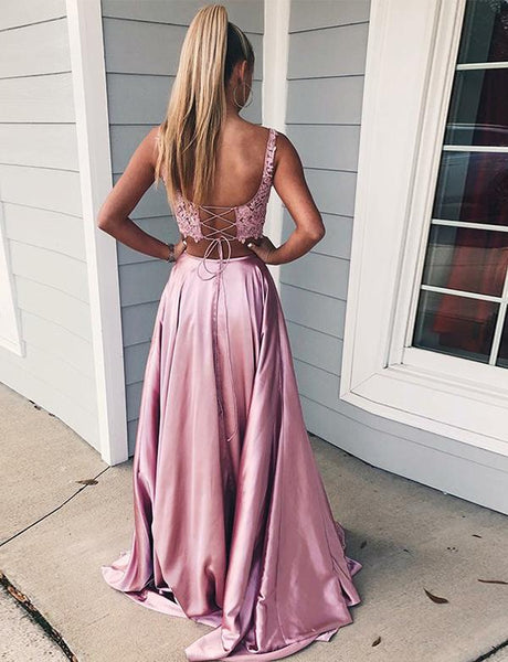 Two Piece A-Line Straps Pink Satin Prom Dress,Cheap Prom Dresses,PDY0532