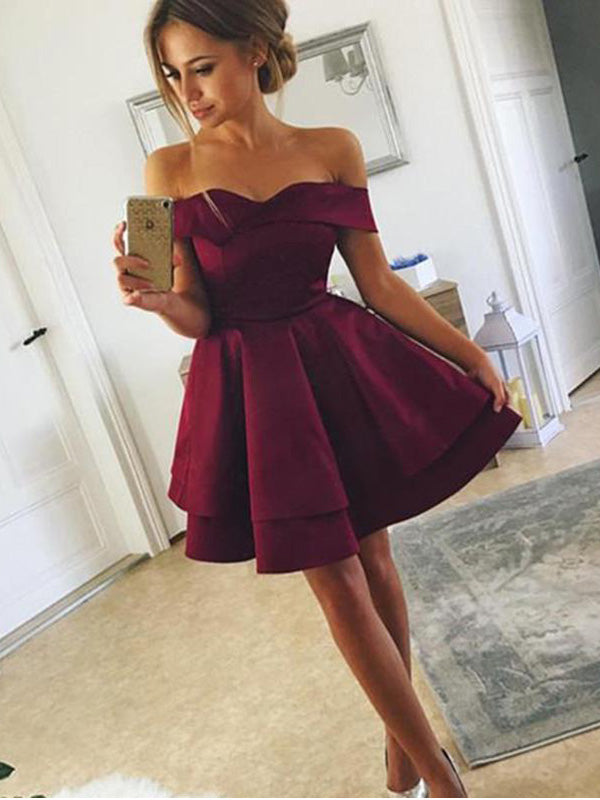 Burgundy Off-the-Shoulder Satin Homecoming Dresses ,Cheap Short Dresses,BDY0221