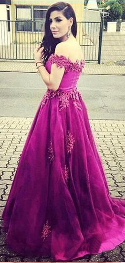 Off Shoulder Lace Long A-line Floor Length Tulle Prom Dresses, BG0084