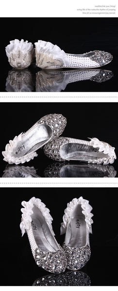 Fashion Sparkly Crystal Flat Heels Pointed Toe Rhinestone Wedding Bridal Shoes, SY0107