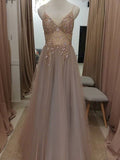 A-line Spaghetti Straps V-neck Tulle Evening Dresses ,Cheap Prom Dresses,PDY0607