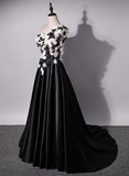 One Shoulder Handmade Flower Black A-line Long Evening Prom Dresses,Evening Dresses PDY0231